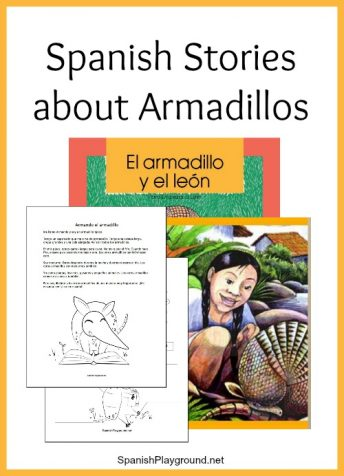Readings with armadillo facts and stories with armadillos for kids learning Spanish.