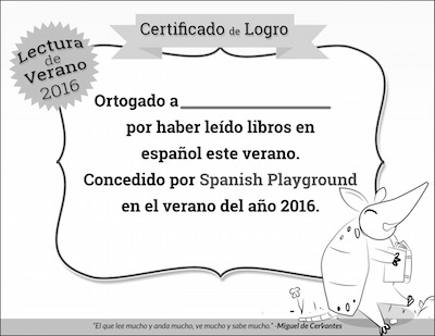 A black and white certificate to recognize reading in Spanish.