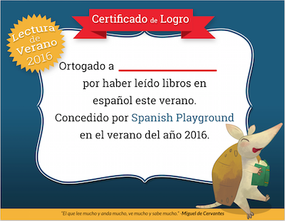 A full color reading certificate to recognize accompliments in reading in Spanish.