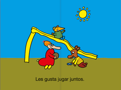 This series of free Spanish ibooks has simple sentences and basic vocabulary.