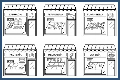 Printable drawings of store fronts to teach kids Spanish city vocabulary.