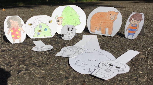 Cutouts for retelling a Spanish story PDF.
