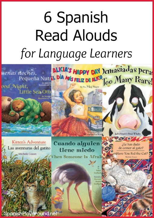 These Spanish read aloud books have common vocabuary to aid language learning.