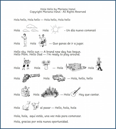 Children learn easy Spanish words as they sing the song Hola Hello.