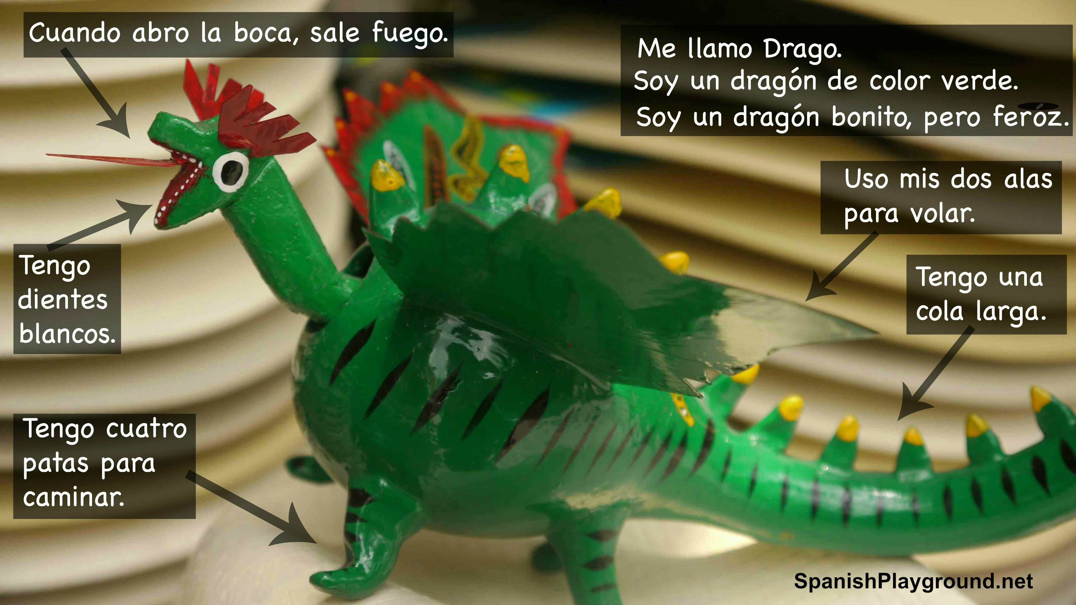Reading activities with photos for Spanish class include text on a photo.
