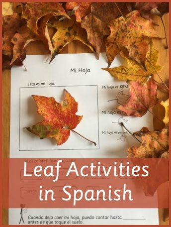 Songs, poems, and printable pages with leaf activities in Spanish for kids.
