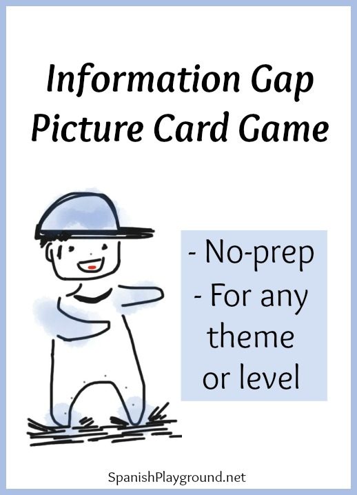 Spanish information gap game for kids to play with picture cards.