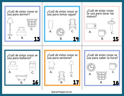 Spanish task cards let kids work independently to learn house vocabulary.