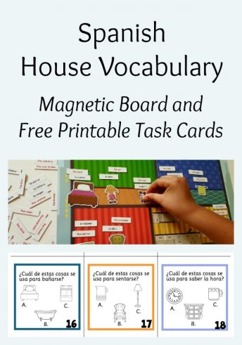 Children learn house vocabulary in Spanish with a magnetic board and printable task cards.