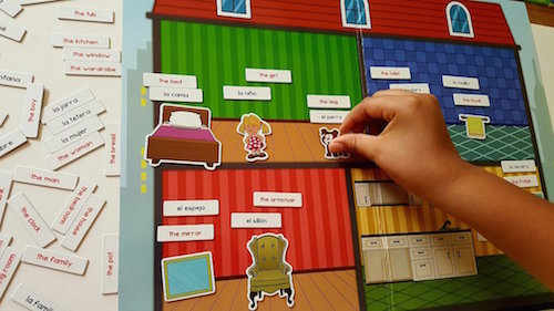 Magnetic board, figures and word magnets are excellent Spanish gifts for kids.