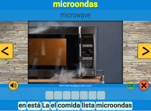 Online Spanish word of the day activities for kids.