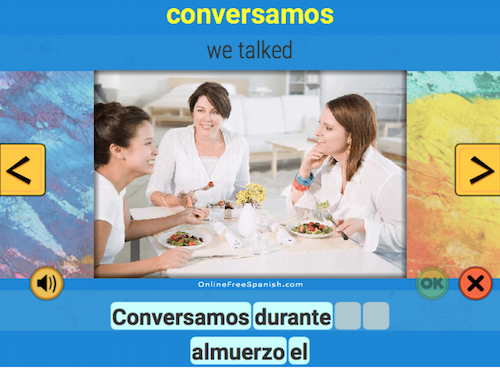 Spanish word of the day activities on Online Free Spanish include ordering activities for kids.