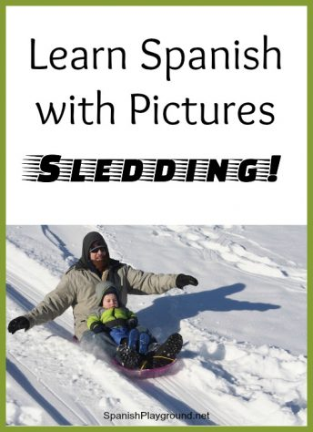 Kids use a photo to learn vocabulary to talk about sledding in Spanish.
