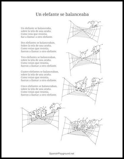 Printable lyrics for the Spanish children's song Un elefante se balanceaba.