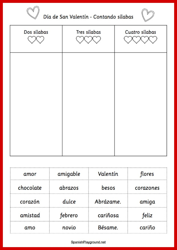 A Spanish syllable counting activity using Valentine words for kids.