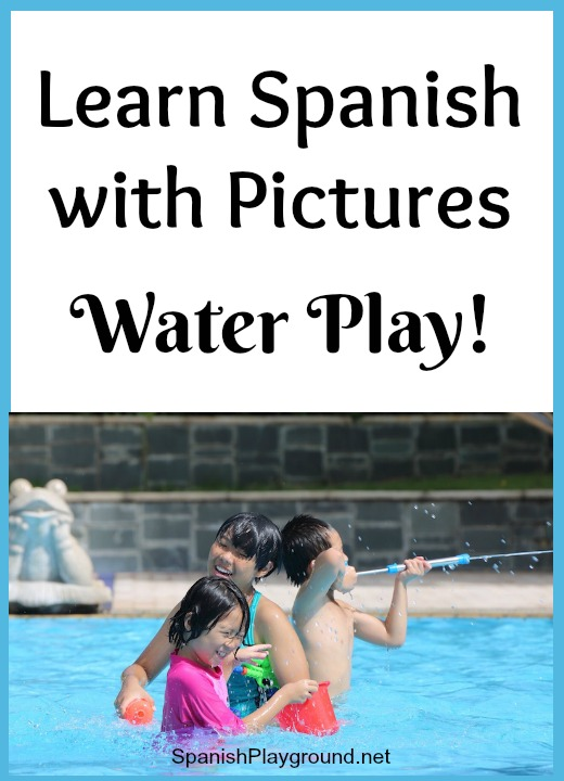 Kid learn words for water play in Spanish as they talk about the photo and answer the questions.