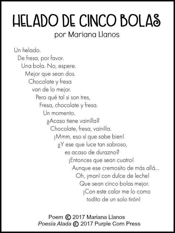 This Spanish poem for children is from the book Poesía Alada.