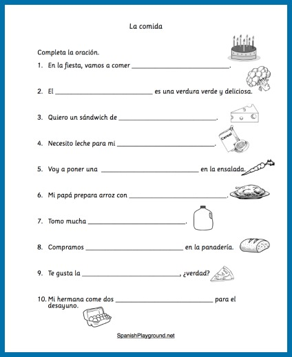 spanish food vocabulary printable activities spanish playground. Black Bedroom Furniture Sets. Home Design Ideas
