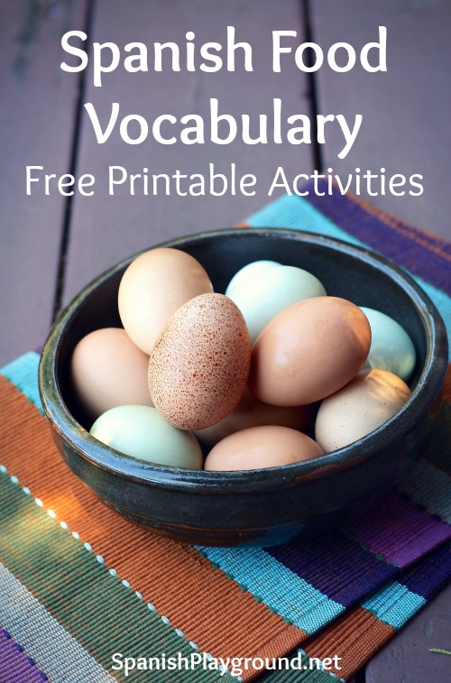 Free printable activities for children to practice Spanish food vocabulary.