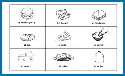 Picture cards with Spanish food vocabulary can be used for many different activities.