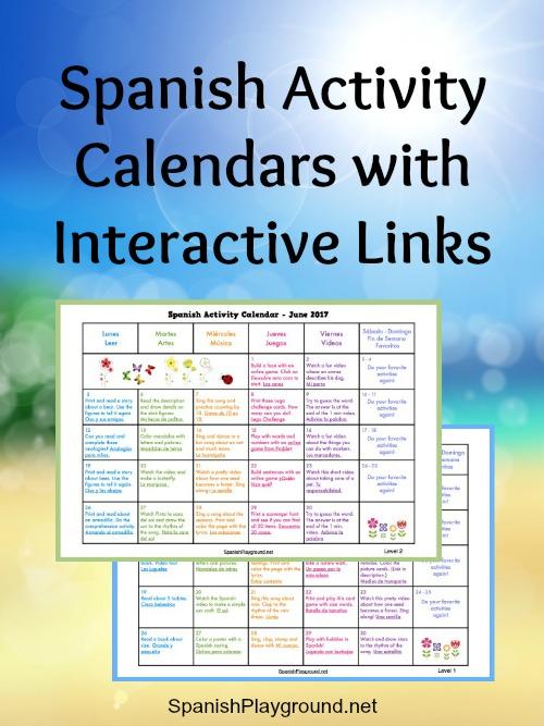 Spanish Activity Calendars For Kids Spanish Playground