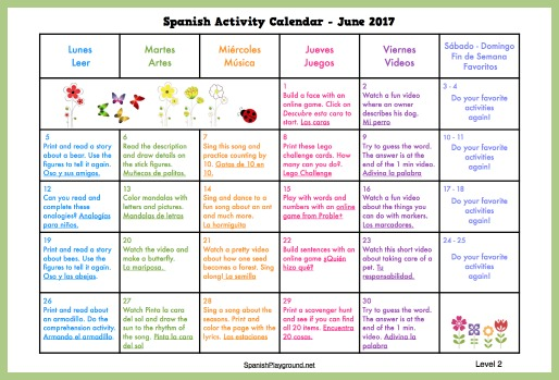 Kids find games, songs, videos and printable activities on Spanish activity calendars.