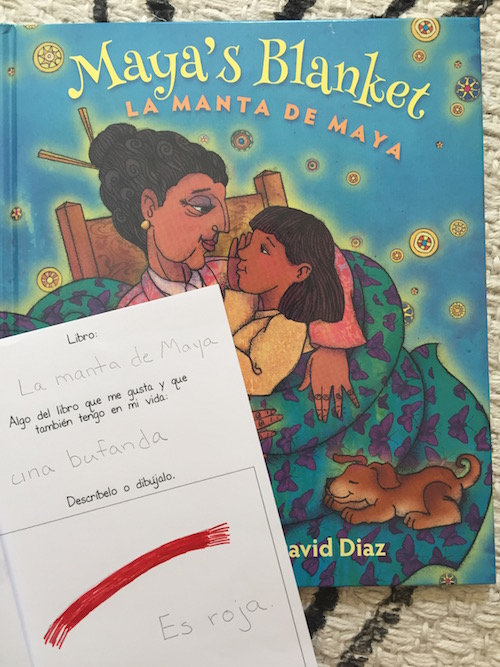 Kids record books they read and things they appreciate in their lives in a Spanish gratitude journal.