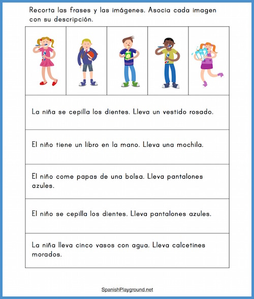 This elementary Spanish reading activity uses text descriptions of picture cards.