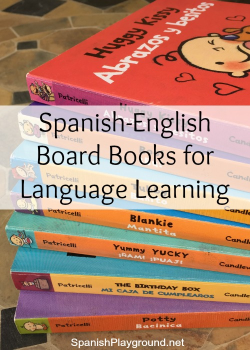 This series of Spanish-English board books by Leslie Patricelli has excellent language for Spanish learners.