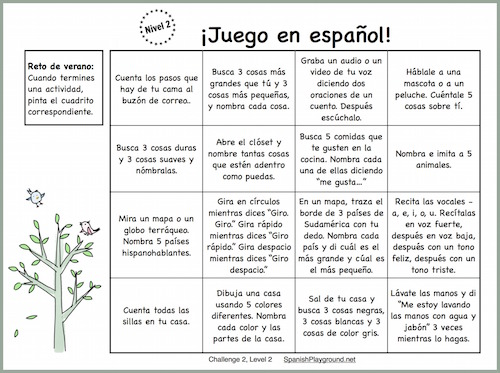 Kids get Spanish speaking practice with a series of short, theme-based activities.