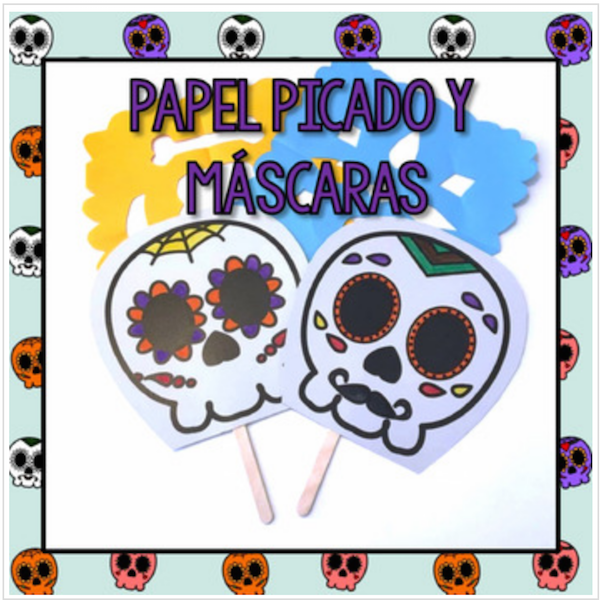 This easy Day of the Dead crafts like this papel picado are a good way to share culture wtih kids.