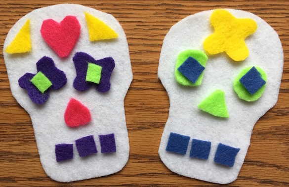 These felt skulls are a fun and easy Day of the Dead craft for kids.