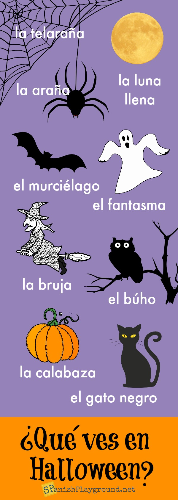Spanish Halloween infographic to practice common vocabulary in the context of the holiday.