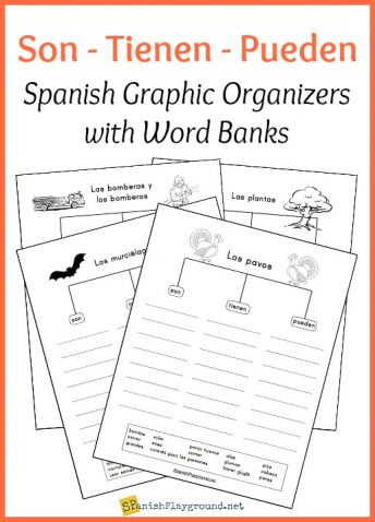 Spanish vocabulary graphic organizers help students connect ideas and use words in context.