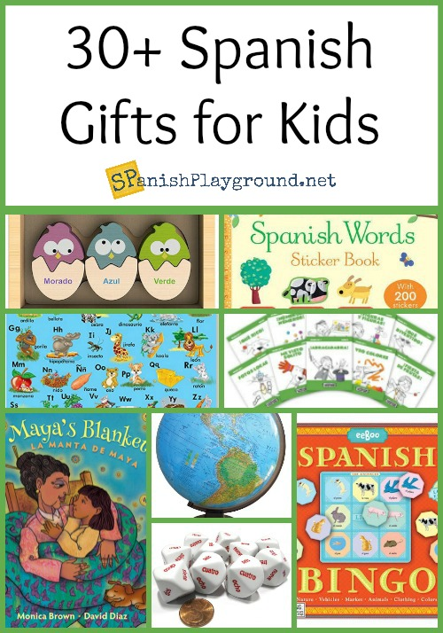 A collection of Spanish langauge gifts for children and teachers.