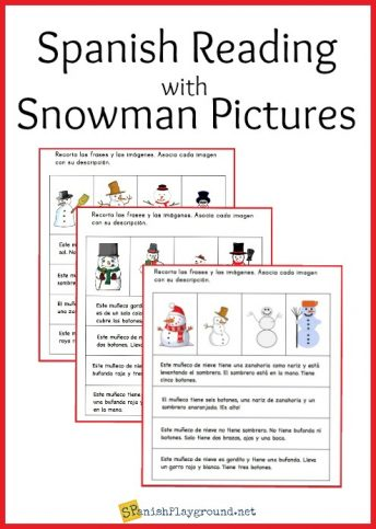 Practice body parts and clothes vocabulary by matching descriptions to pictures in this Spanish snowman activity.