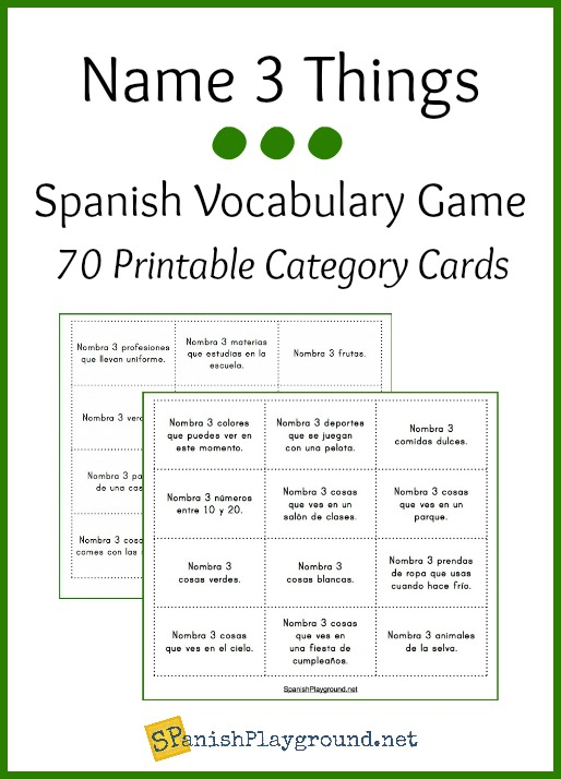 This printable Spanish vocabulary game is a fun way for kids to review words in different thematic categories.