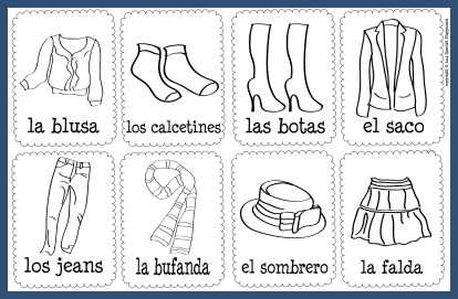 These Spanish vocabulary picture cards with clothing vocabulary can be used for games and activities.