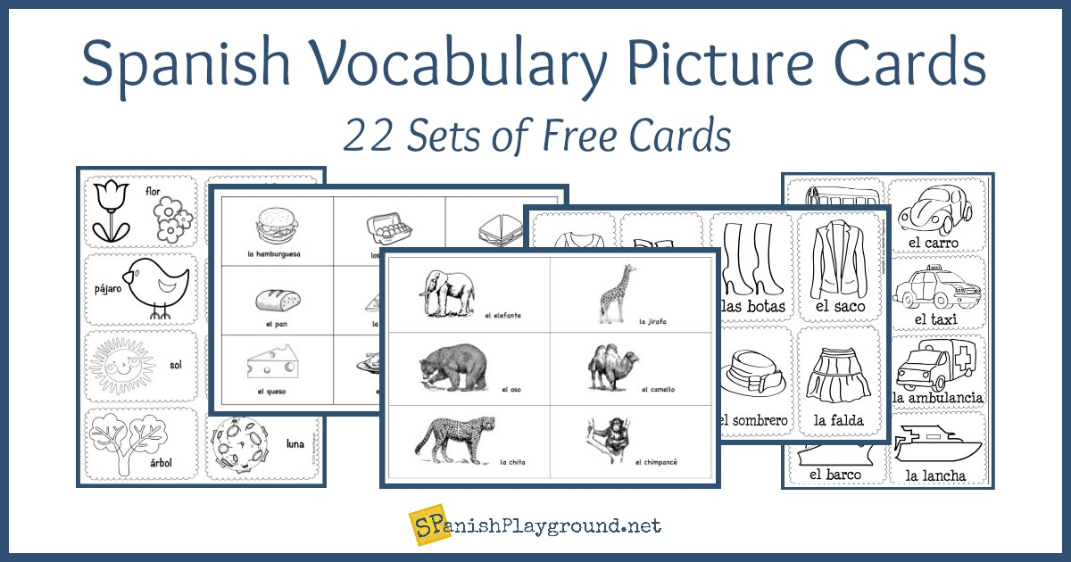 spanish vocabulary picture cards by theme
