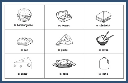 Use these Spanish vocabulary picture cards of food for Memory and other games.