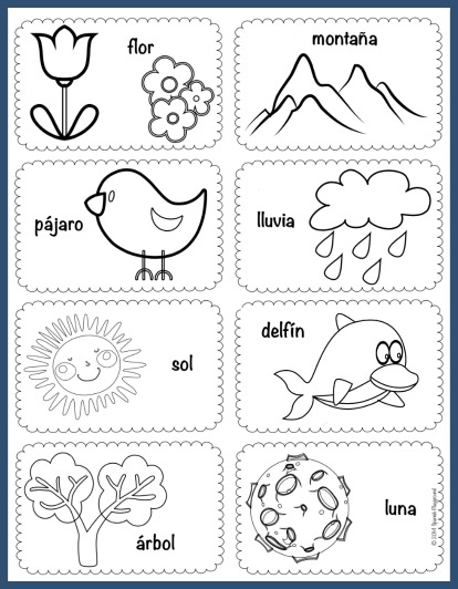 Use these Spanish vocabulary picture cards for games and activities with kids.