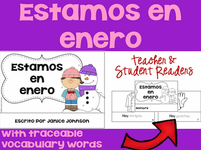 Free Spanish winter activities like this reader use high-frequency vocabulary in context.