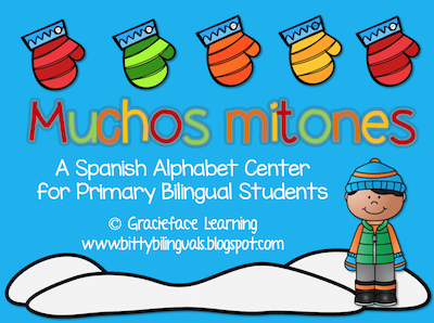 Free Spanish winter activities like this is mitten letter to initial sound matching game are perfect for centers.