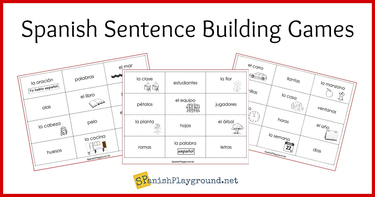 photograph regarding Sentence Building Games Printable titled Spanish Sentence Establishing Video games - Spanish Playground