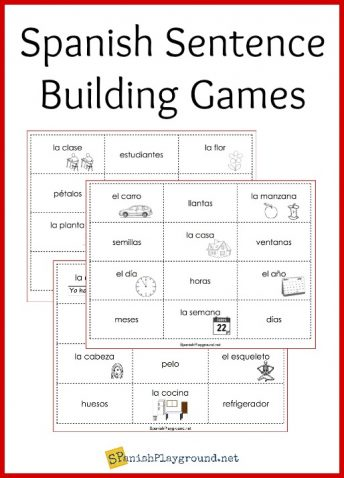 Play these Spanish sentence building games with the printable cards to practice vocabulary and structure.