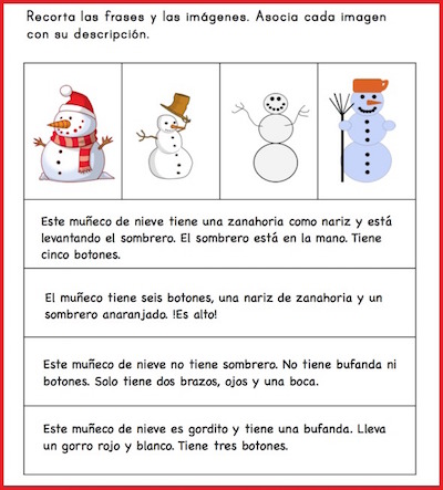 This matching game is one of the free Spanish winter activities you can use with students.