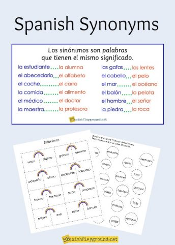 Spanish synonyms expand vocabulary and increase reading and listening comprehension.