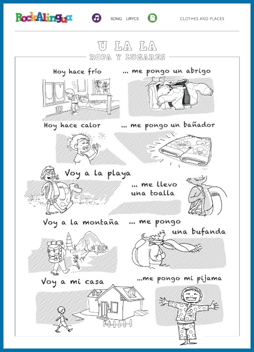 Rockalingua has two wonderful Spanish clothing songs for kids.