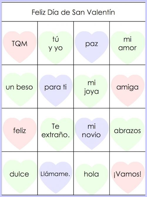 Teachers can use this 28 card printable Spanish bingo game.