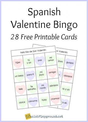 This printable Spanish bingo game is an fun Valentine's Day activity for kids.